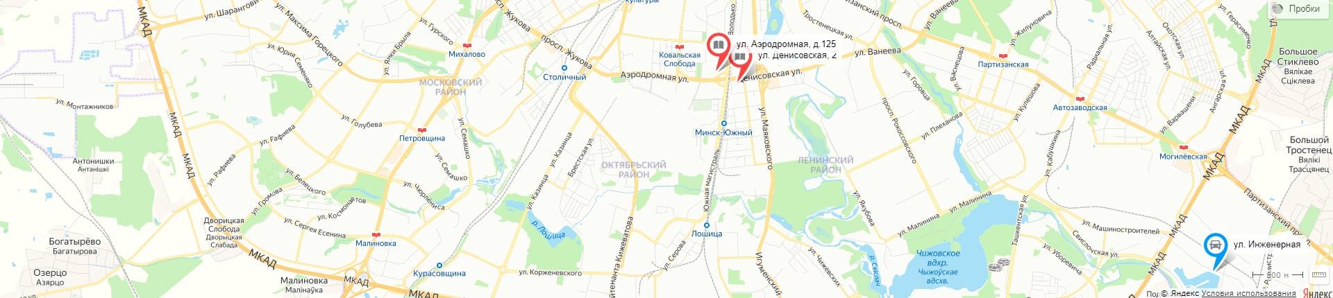 Город Дорог на карте Минска